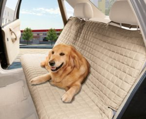 Elegant Comfort® Quilted Design %100 Waterproof Premium Quality Bench Car Seat Protector Cover (Entire Rear Seat) for Pets - TIES TO STOP SLIPPING OFF THE BENCH