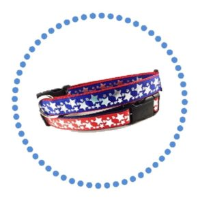 Stars petriotic patriotic collars dogs red white blue